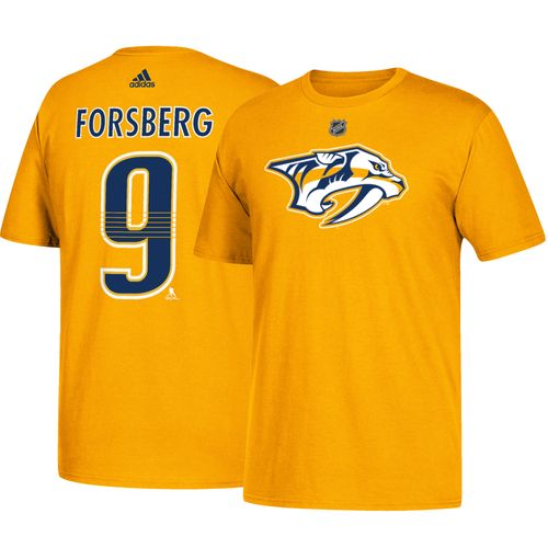 Men's adidas Nashville Predators Filip Forsberg Authentic Name and Number Shirt (Gold)