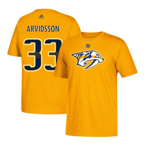 Men's adidas Nashville Predators Viktor Arvidsson Authentic Name and Number Shirt (Gold)