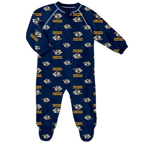 Infant Nashville Predators Raglan Zip-Up Footie Pajama (Navy)