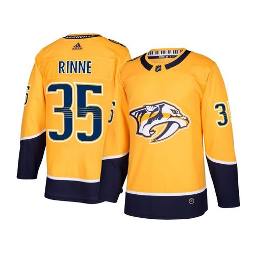 Men's adidas Nashville Predators Pekka Rinne Authentic Pro Home Jersey (Gold)