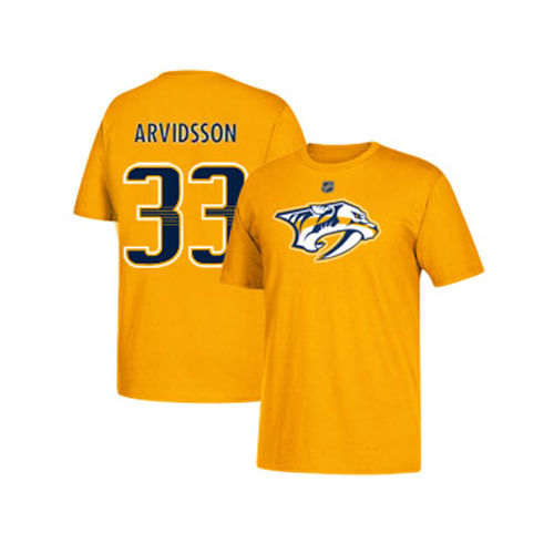 Youth Nashville Predators Viktor Arvidsson Name and Number Short Sleeve T-Shirt (Gold/Navy)