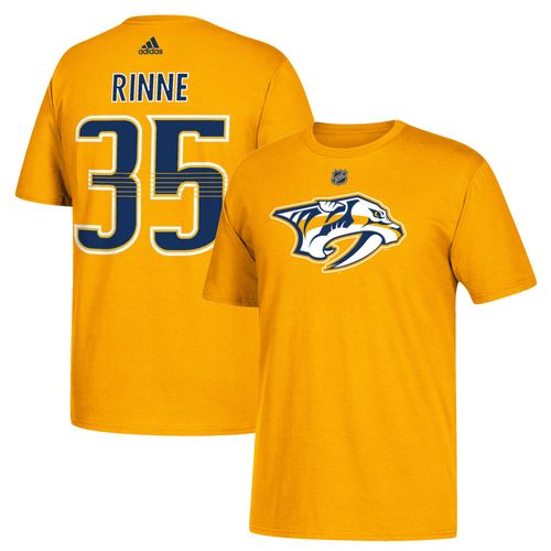 Men's adidas Nashville Predators Pekka Rinne Authentic Name and Number Shirt (Gold)