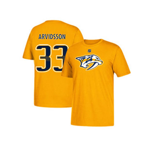 Kid's Nashville Predators Viktor Arvidsson Name and Number Short Sleeve T-Shirt (Gold/Navy)