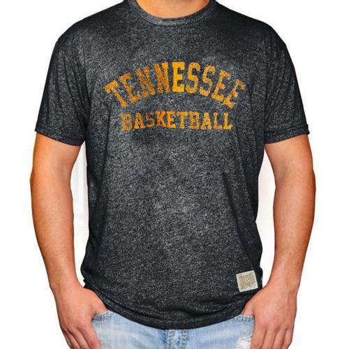 Men's Retro Brand Tennessee Volunteers Basketball Mock Twist Short Sleeve T-Shirt (Heather Black)