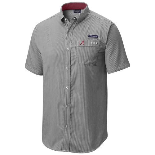 Men's Columbia Alabama Crimson Tide Harborside Short Sleeve Button up Shirt (Black/White)