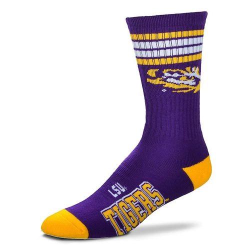 LSU Tigers 4 Stripe Deuce Sock (Purple/Gold)