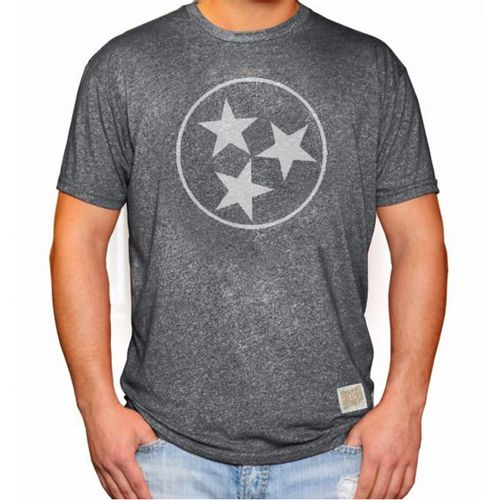 Men's Retro Brand Mock Twist Tri-Star Short Sleeve T-Shirt (Matte Charcoal)