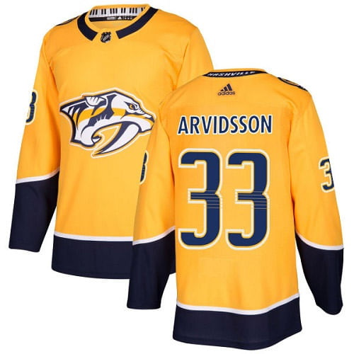 Men's adidas Nashville Predators Viktor Arvidsson Authentic Pro Home Jersey (Gold/Navy)