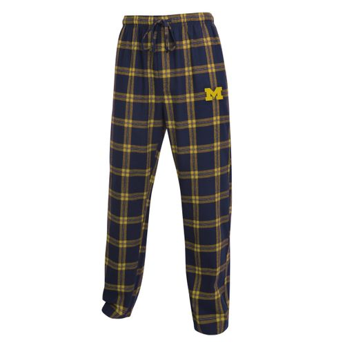 Men's Michigan Wolverines Home Stretch Flannel Pajama Pant (Navy/Gold)