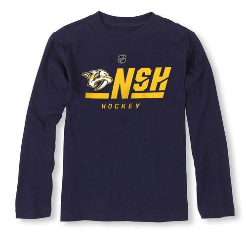 Youth Nashville Predators On Ice Primary Long Sleeve Shirt (Navy)