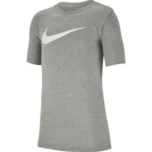 Boy's Nike Dri-Fit Swoosh Short Sleeve T-Shirt (Dark Grey Heather)