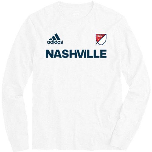 Men's adidas Nashville Soccer Club MLS Long Sleeve T-Shirt (White)
