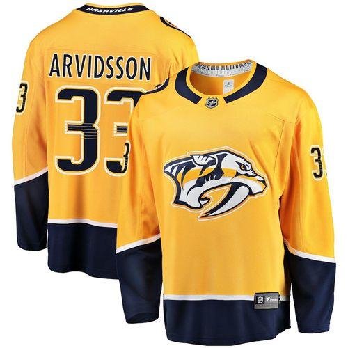 Men's Fanatics Nashville Predators Viktor Arvidsson Breakaway Home Jersey (Gold)