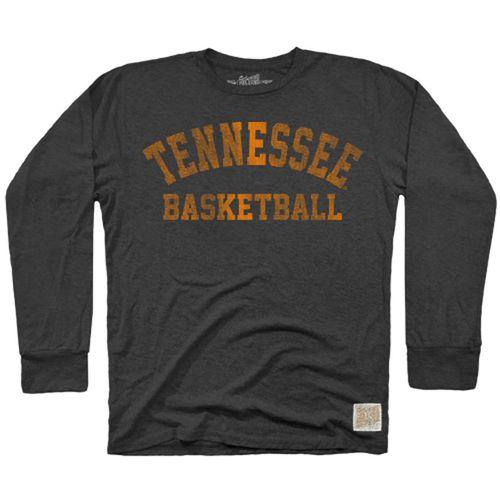 Men's Retro Brand Tennessee Volunteers Basketball Long Sleeve Shirt (Heather Black)