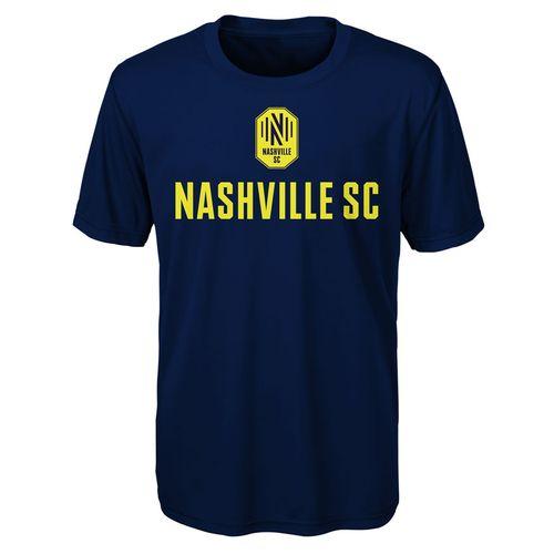 Youth Nashville Soccer Club Stacked Logo Short Sleeve T-Shirt (Navy)