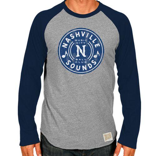 Men's Retro Brand Nashville Sounds Music Notes Long Sleeve Raglan (Grey/Navy)