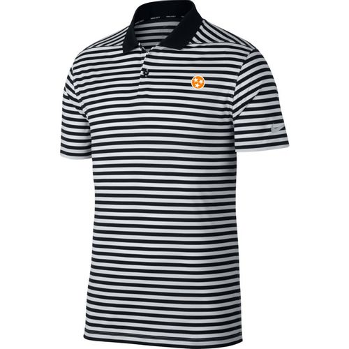 Men's Nike Tennessee Tri-Star Stripe Golf Polo (Black/White)