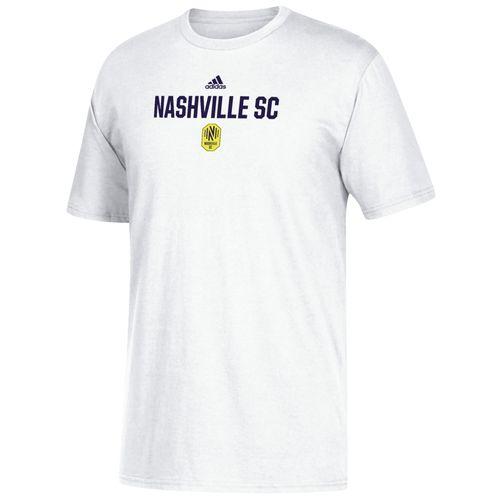 Men's adidas Nashville Soccer Club Locker Stacked Logo Short Sleeve T-Shirt (White)