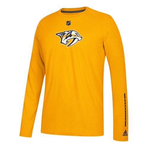 Men's adidas Nashville Predators Logo Ultimate Long Sleeve T-Shirt (Gold)