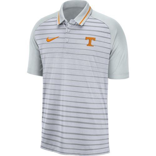 Men's Nike Tennessee Volunteers Dri-FIT Stripe Polo (Wolf Grey/Pure Platinum)