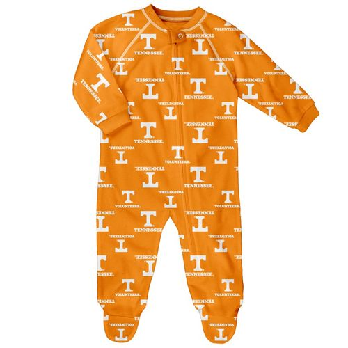Infant Tennessee Volunteers Raglan Zip-Up Footie Pajama (Orange)