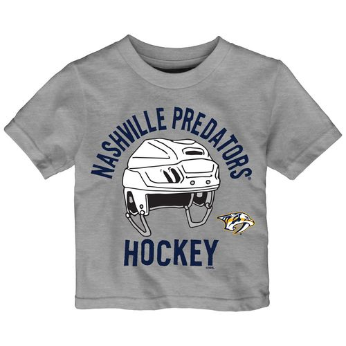 Infant Nashville Predators Helmet Head Short Sleeve Shirt (Grey)