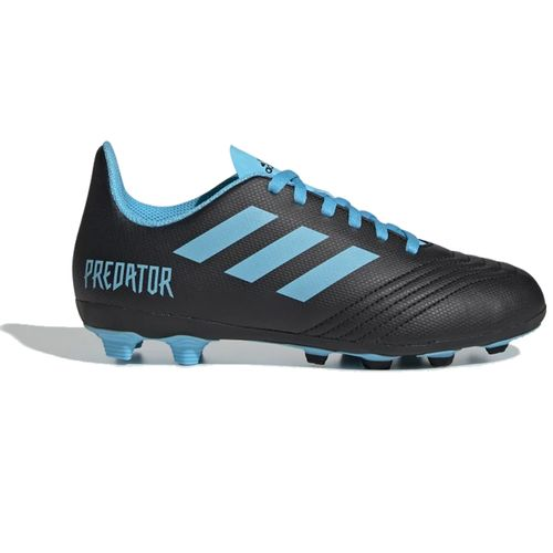Grade School Adidas Predator 19.4 Flexible Ground Cleats (Black/Cyan)