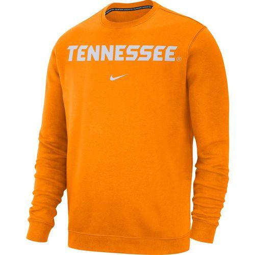 Men's Nike Tennessee Volunteers Club Wordmark Crew Fleece (Orange)