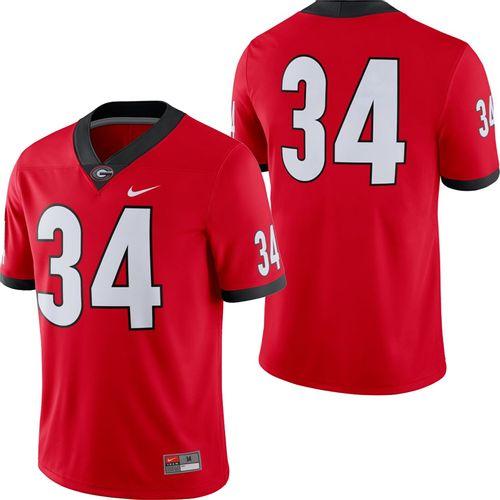 Men's Nike Georgia Bulldogs #34 Dri-FIT Home Game Jersey (Red)