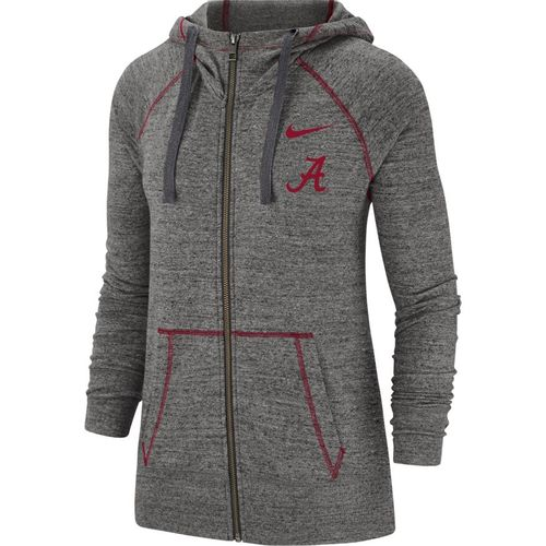 Women's Nike Alabama Gym Vintage Full-Zip Hoodie (Grey/Crimson)