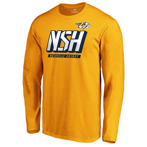 Men's Fanatics Nashville Predators Tricode Logo Long Sleeve Shirt (Gold)