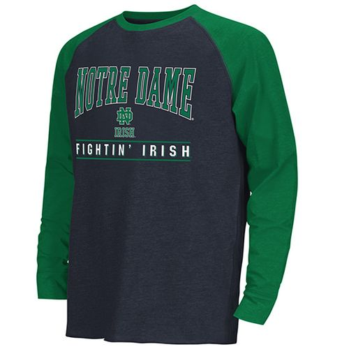 Youth Notre Dame Fighting Irish Kryton Raglan Long Sleeve Shirt (Navy/Green)