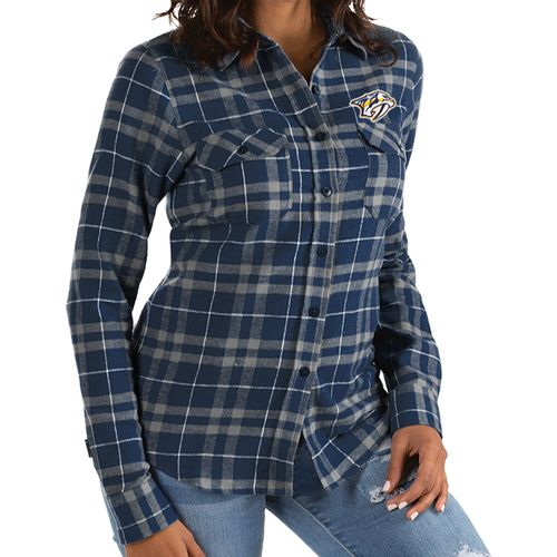 Women's Antigua Nashville Predators Primary Plaid Long Sleeve (Navy/Grey)
