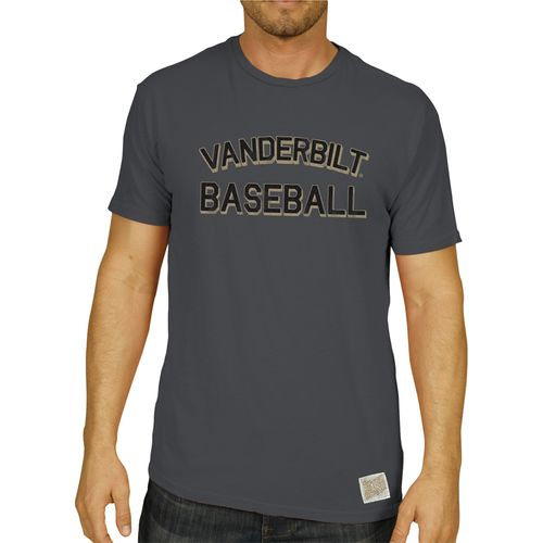 Men's Retro Brand Vanderbilt Commodores Teddy Slub Baseball T-Shirt (Charcoal)