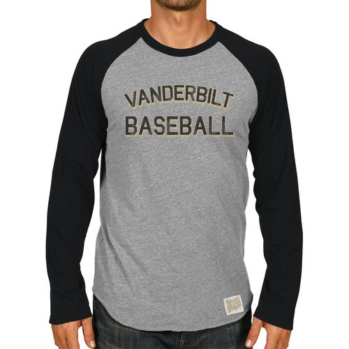 Men's Retro Brand Vanderbilt Commodores Baseball Raglan Long Sleeve Shirt (Grey/Black)