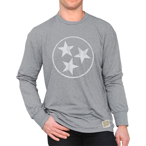 Men's Retro Brand Tri-Star Mock Twist Long Sleeve Shirt (Heather Grey)