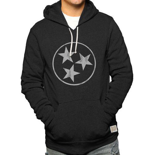 Men's Retro Brand Tri-Star Hooded Fleece Sweatshirt (Heather Black)