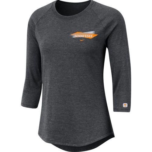Women's Nike Tennessee Volunteers Tri-Blend 3/4 Sleeve Shirt (Grey)