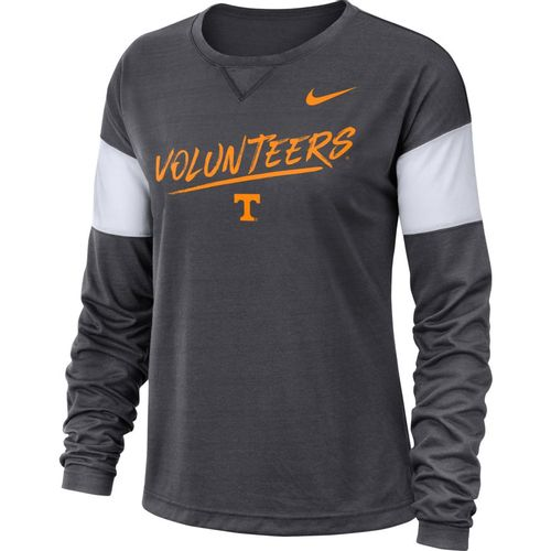 Women's Nike Tennessee Volunteers Breathe Long Sleeve Shirt (Anthracite/White)