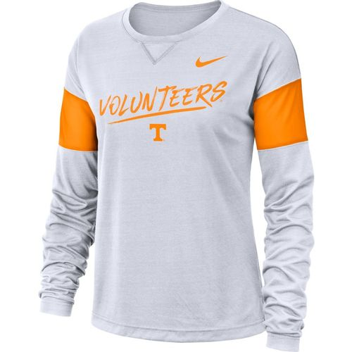 Women's Nike Tennessee Volunteers Dri-FIT Breathe Long Sleeve Shirt (White/Orange)