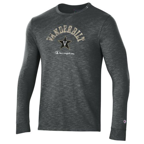 Men's Champion Vanderbilt Commodores Rochester Slub Long Sleeve Shirt (Grey)