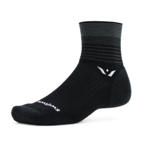 Swiftwick Pursuit Four Stripe Quarter Crew Sock (Black/Grey)