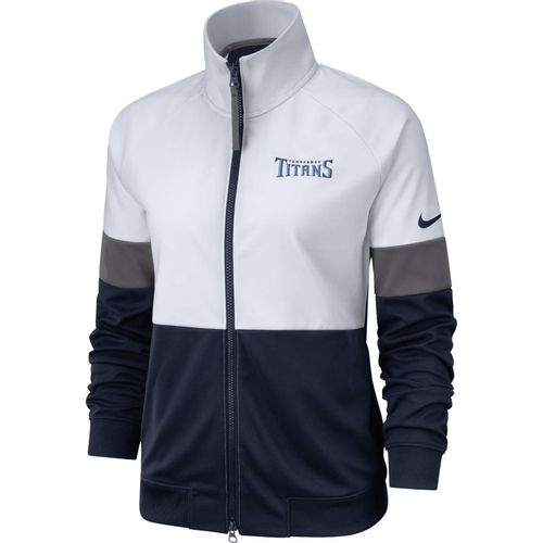 Women's Nike Tennessee Titans Full Zip Up Track Jacket (White/Navy)