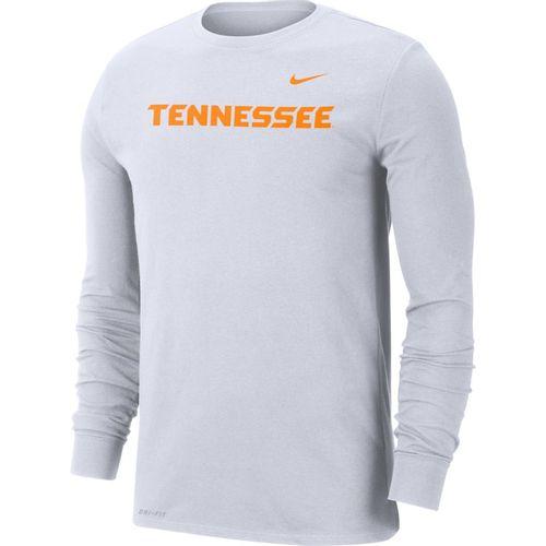 Men's Nike Tennessee Volunteers Dri-FIT Cotton Wordmark Long Sleeve Shirt (White)