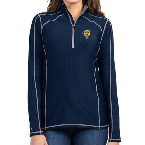 Women's Antigua Nashville Predators Guitar Pick Tempo Zip-Up (Navy/Grey)