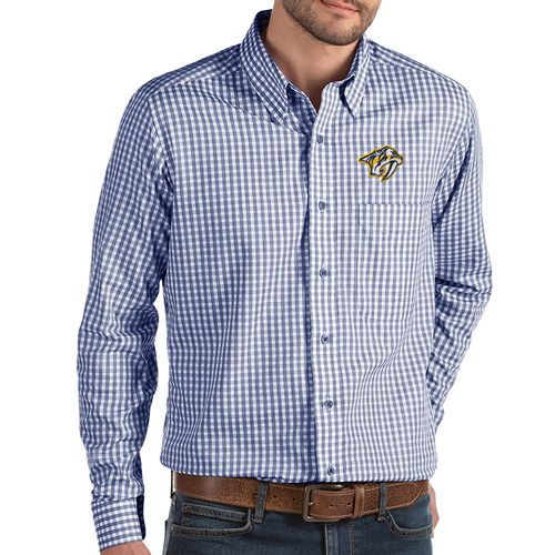 Men's Antigua Nashville Predators Primary Structure Button Up Shirt (Navy/White)