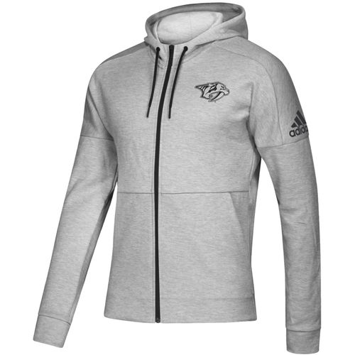Men's Adidas Nashville Predators Tonal Logo Full-Zip Hooded Sweatshirt (Grey)