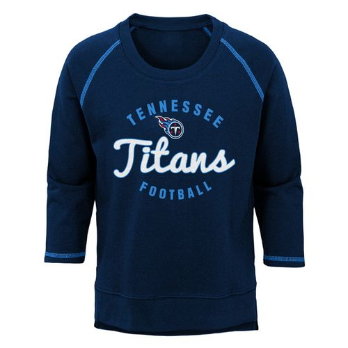Girl's Tennessee Titans Overthrow Long Sleeve Shirt (Navy)