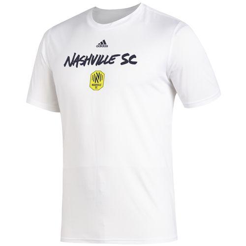 Men's Adidas Nashville Soccer Club Wordmark Goals T-Shirt (White)