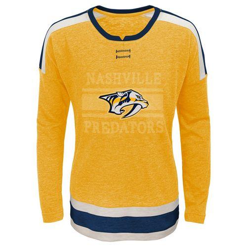 Girl's Nashville Predators Logo Long Sleeve Shirt (Gold)